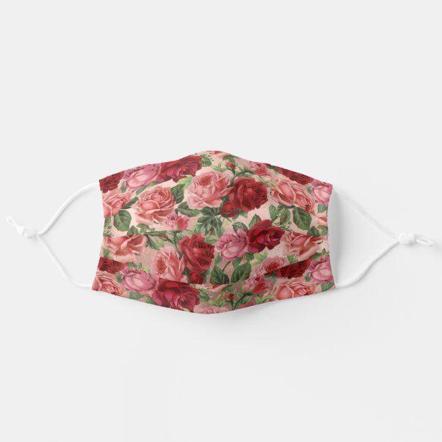Vintage Pink Red Roses Floral Rose Gold Adult Clot