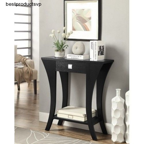 Hall Console Table Furniture Living Room Modern Black Wood Contemporary Entryway Hall Decor Entry Table With Drawers Shelves Modern Living Room