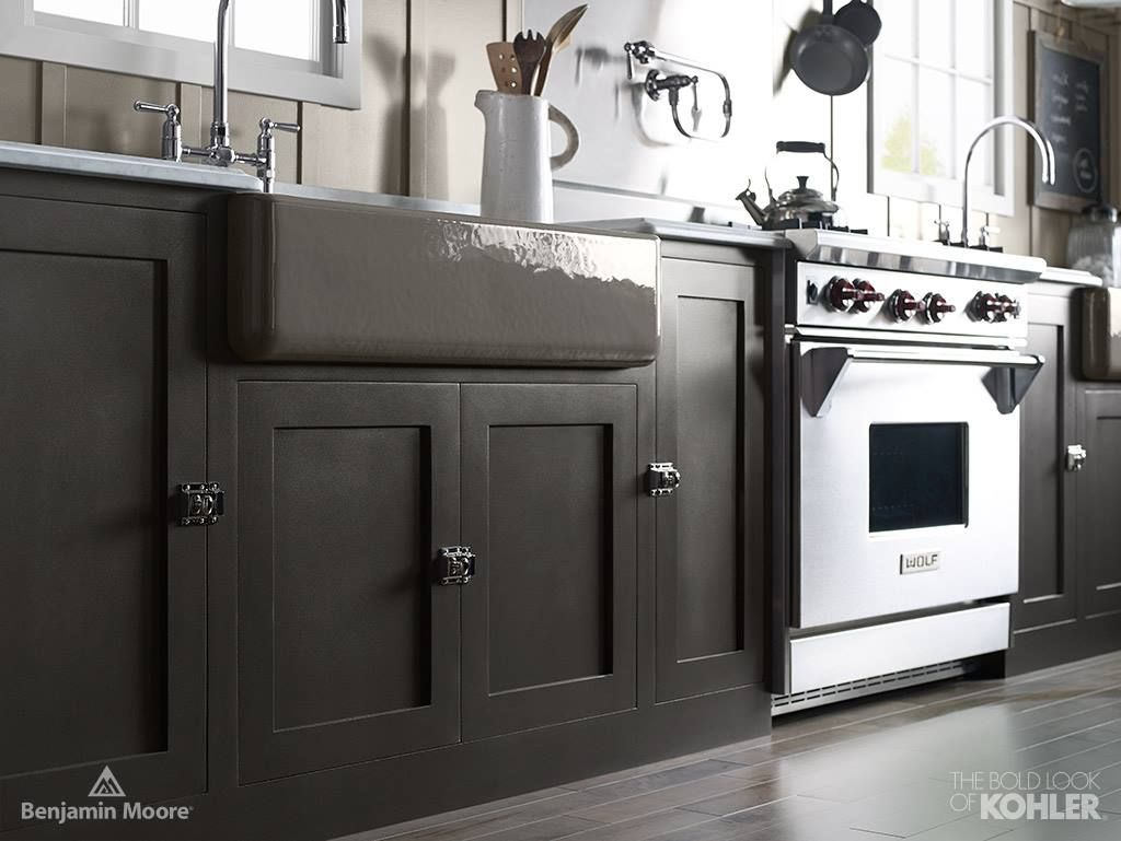 For kitchen cabinets choose a deep rich hue like iron mountain 2134 30 shown here in advance satin this neutral color complements a variety of finishes