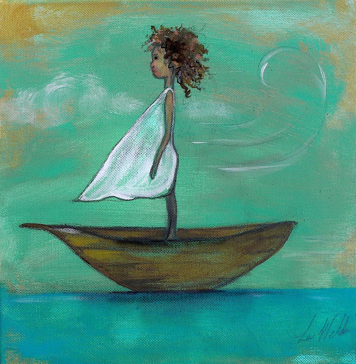 Little sailing girl by Lea Wells