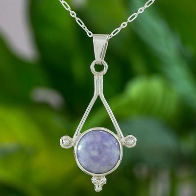 Unique Sterling Silver Pendant Jade Necklace - Antigua Belle | NOVICA