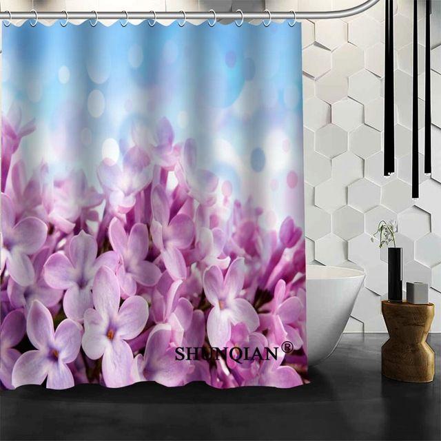 Custom Flower Purple Lilacs Shower Curtain High Quality Bathroom