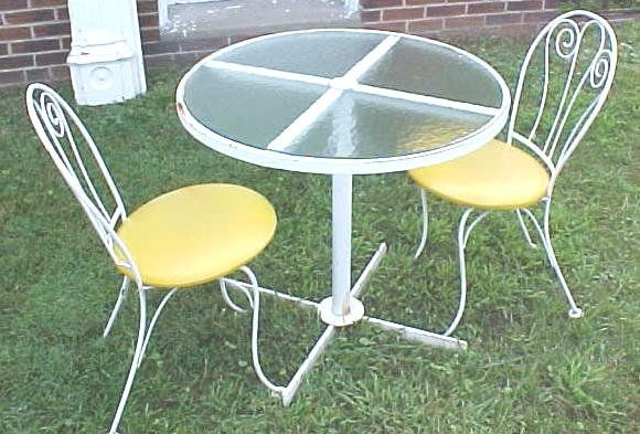 Ice Cream Parlor Table Glass Top w/Chairs (sold) | Glass ...