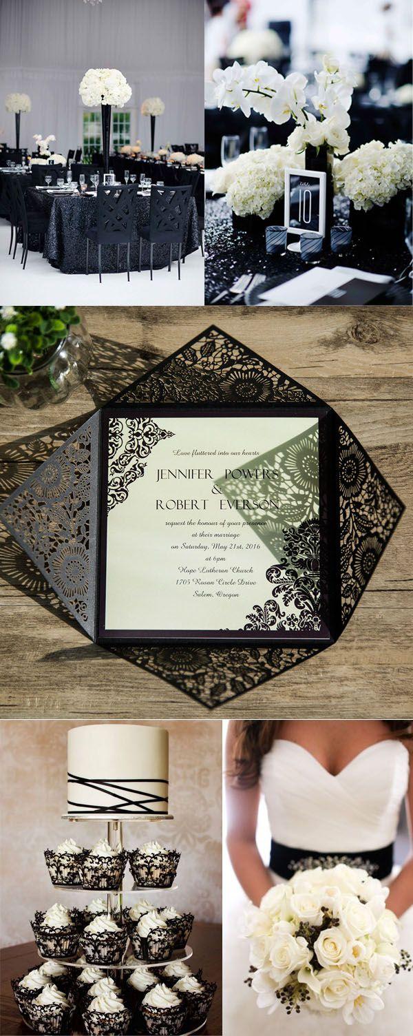 vintage black damask laser cut wedding invites EWWS061