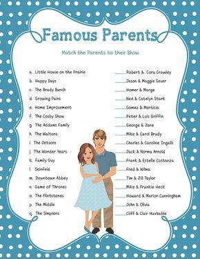 Famous Parents Game Baby Shower Game Celebrity Baby Game Baby Boy