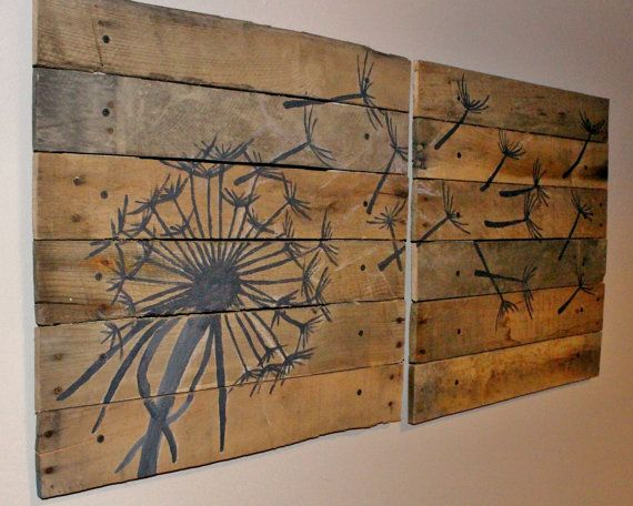 Dandelion,Pallet Art,20x20,2piece,Blowing Dandelion,dandelion Art,Dandelion Painting,rustic wall art,wood planks,reclaimed wood,flower art on Etsy, $139.99