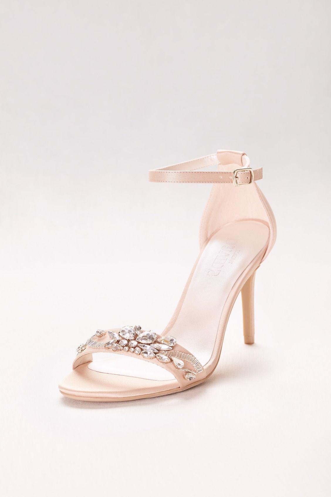 70e0b1e1e521 Jeweled Strappy Nude Prom Heels by David s Bridal