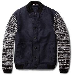 Oliver Spencer Fair Isle-Sleeved Wool-Blend Bomber Jacket | MR PORTER - If only it was 75% Cheaper!