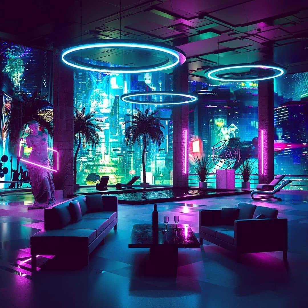Cyberpunk Louge artconcept   Nightclub design, Neon room, Club design