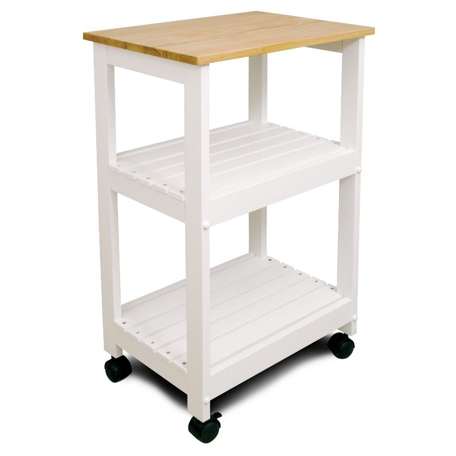 Catskill White Kitchen Trolley - Utility Cart with Two Slatted ...