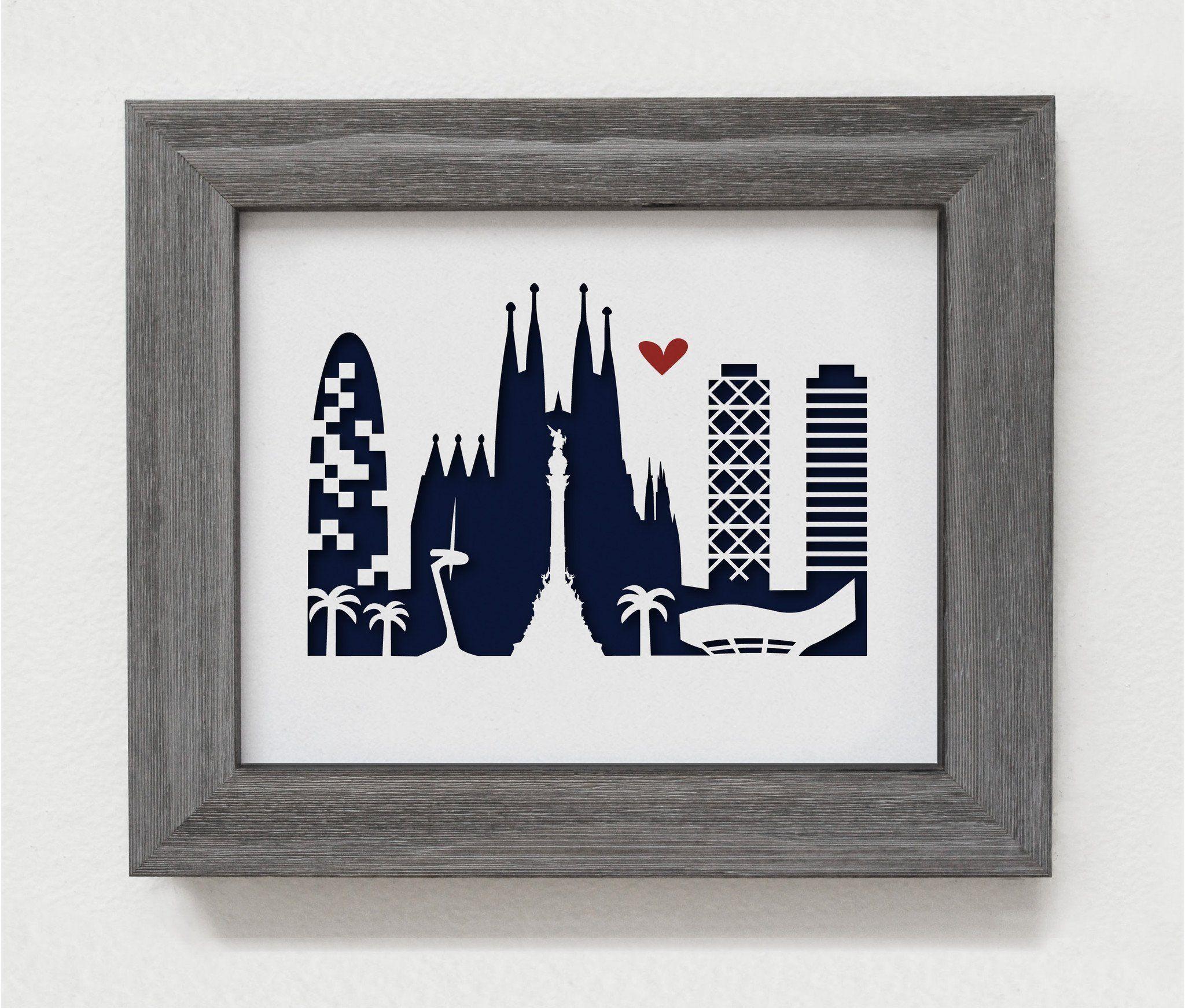 "Barcelona - 8x10"" Papercut Artwork"