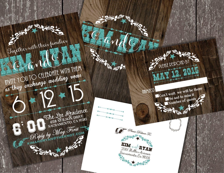 Wedding Invitations Western Cowboy Glitter By Joyinvitations
