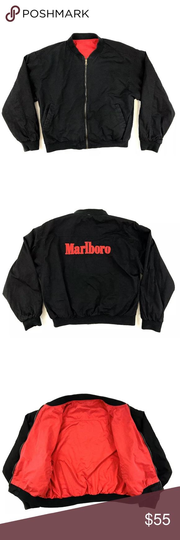 Vintage Marlboro Reversible Bomber Jacket Mens Vintage Marlboro Reversible Bomber Jacket Mens Condition Pre Owned Good N Bomber Jacket Mens Jackets Jackets