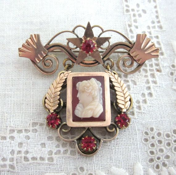 Victorian CAMEO Pin Brooch CARVED Ornate Frame by jewelryannie, $45.00