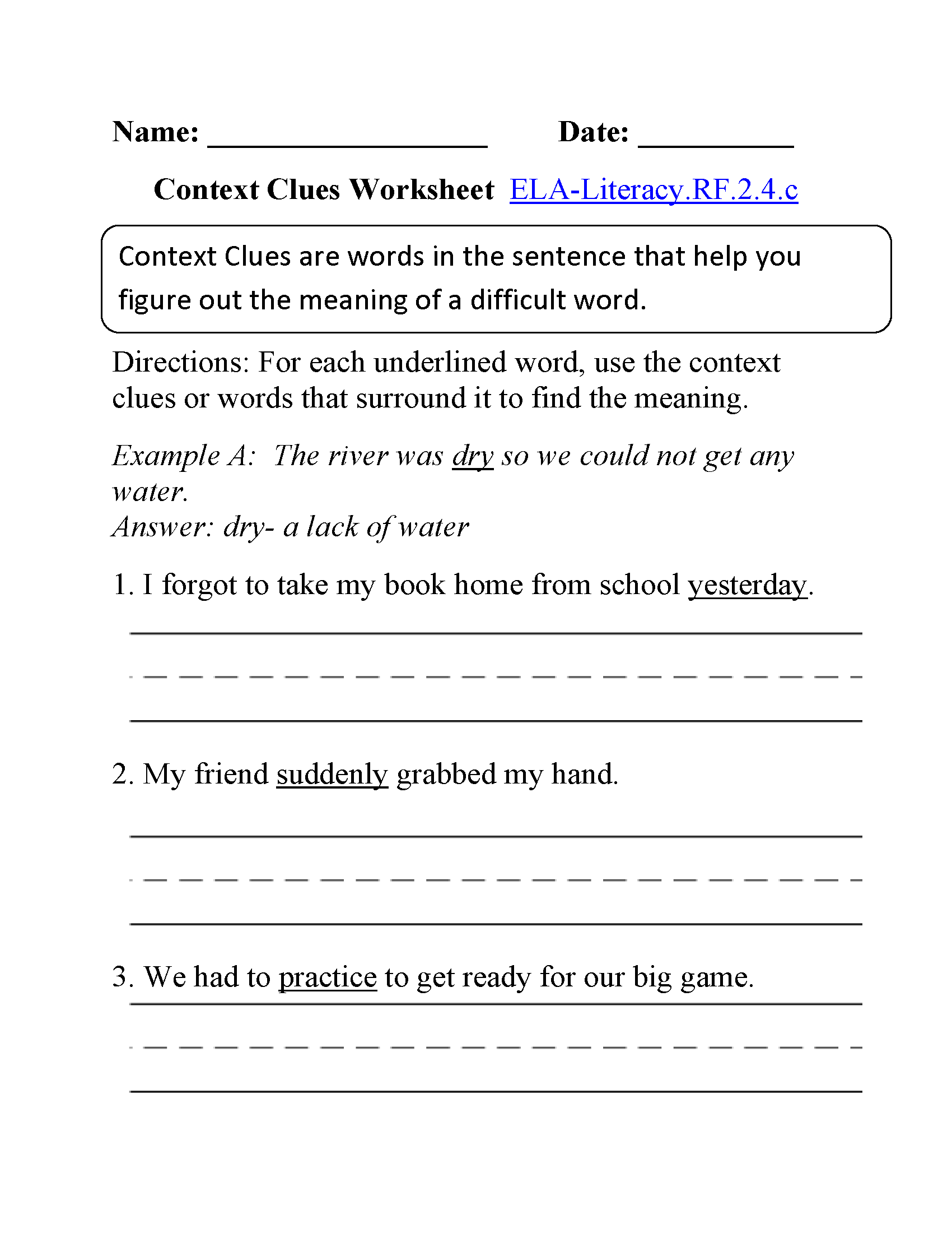 English Worksheets