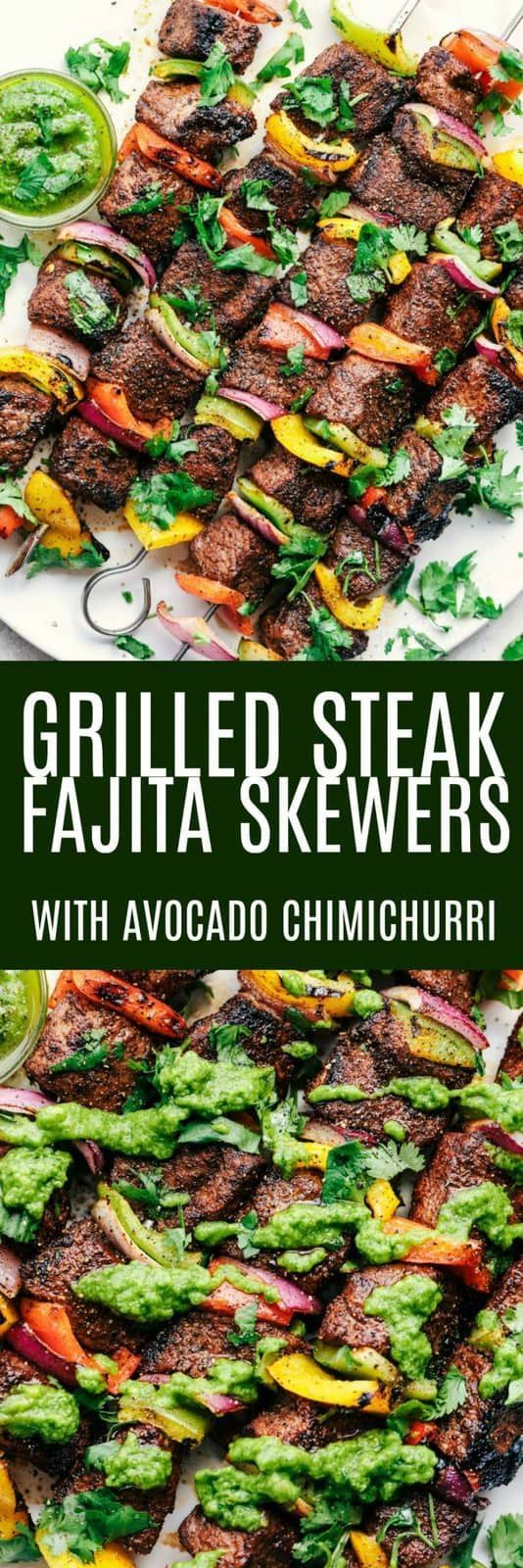 Photo of Grilled steak fajita skewers with avocado chimichurri | The …