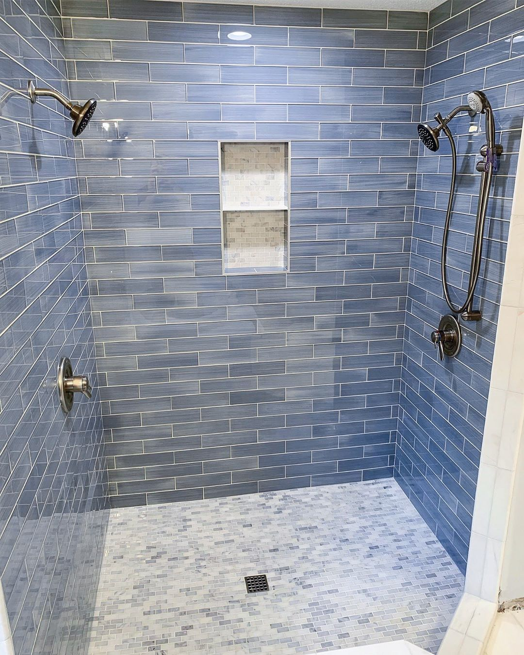 A Color Story Blue Glass Tile Shower Blue Glass Tile Glass