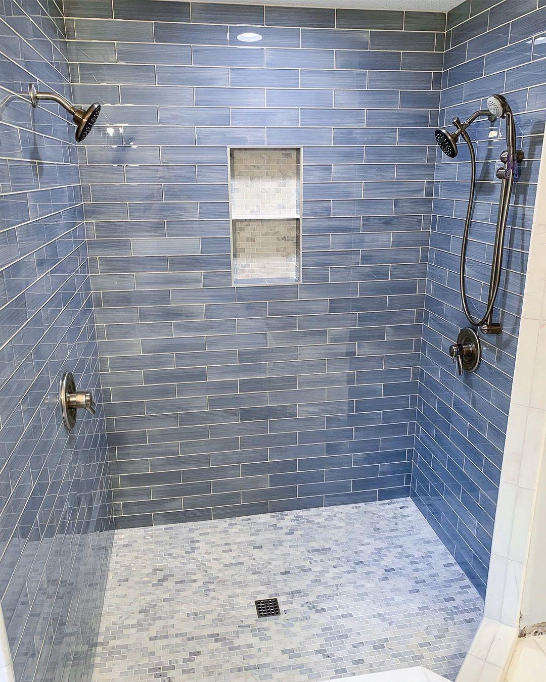 A Color Story Blue The Tile Shop Blog Shower Remodel Blue Shower Tile Blue Bathroom Tile