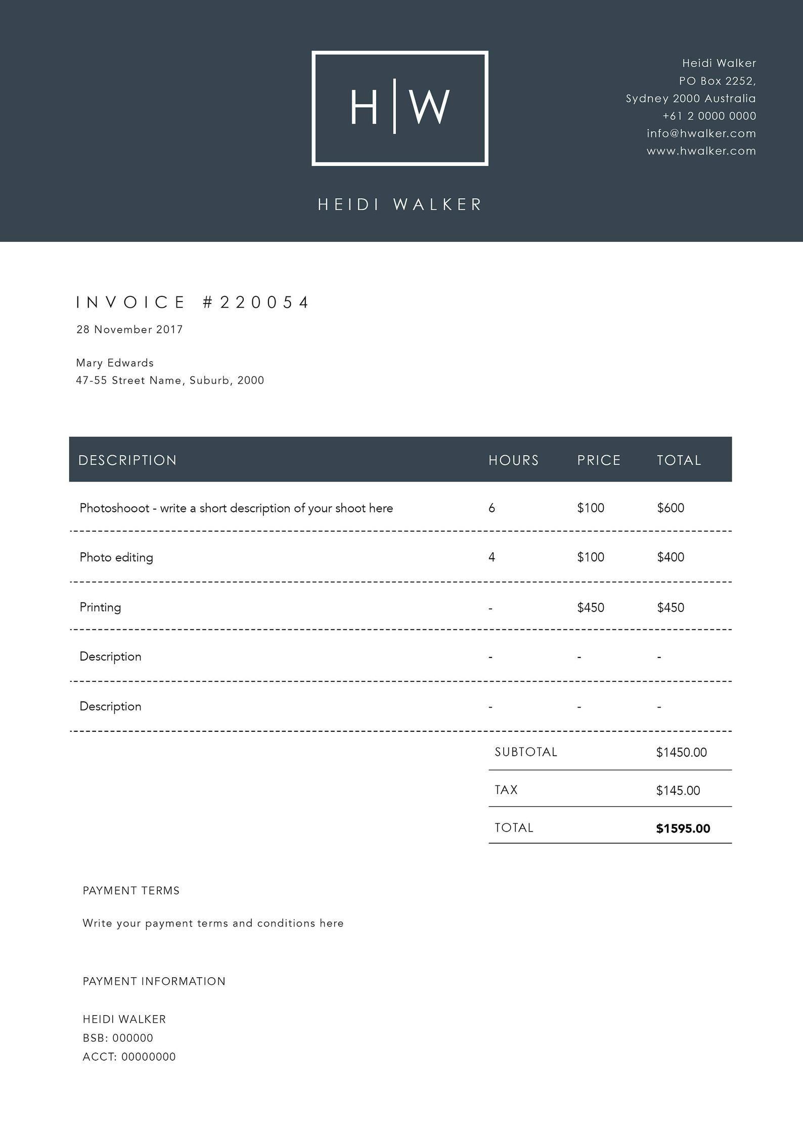 Photographer Invoice Template Invoice Design Receipt Etsy Invoice Design Invoice Template Invoice Design Template