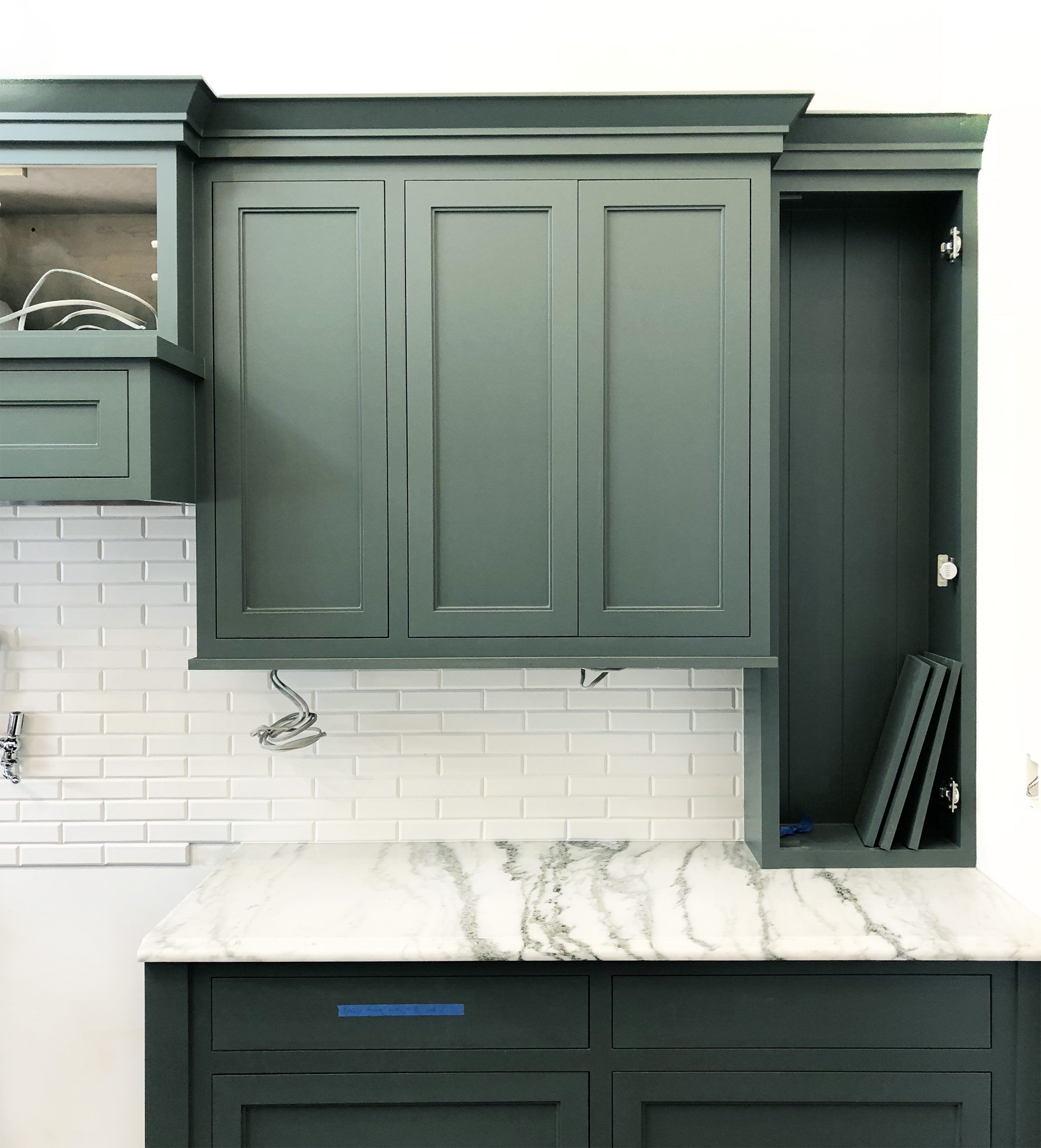 Pin By Sarah Moran On Home Is Where The Heart Is Green Kitchen Cabinets Farmhouse Kitchen Cabinets Refacing Kitchen Cabinets