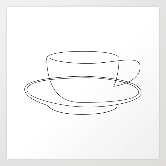 coffee or tea cup line art Art Print by dronathan