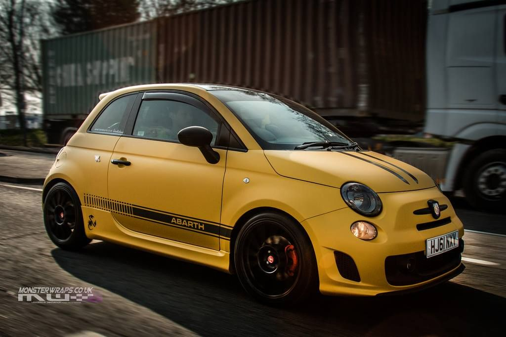 Fiat Abarth 500 Matte Metallic Yellow Wrap By Monsterwraps