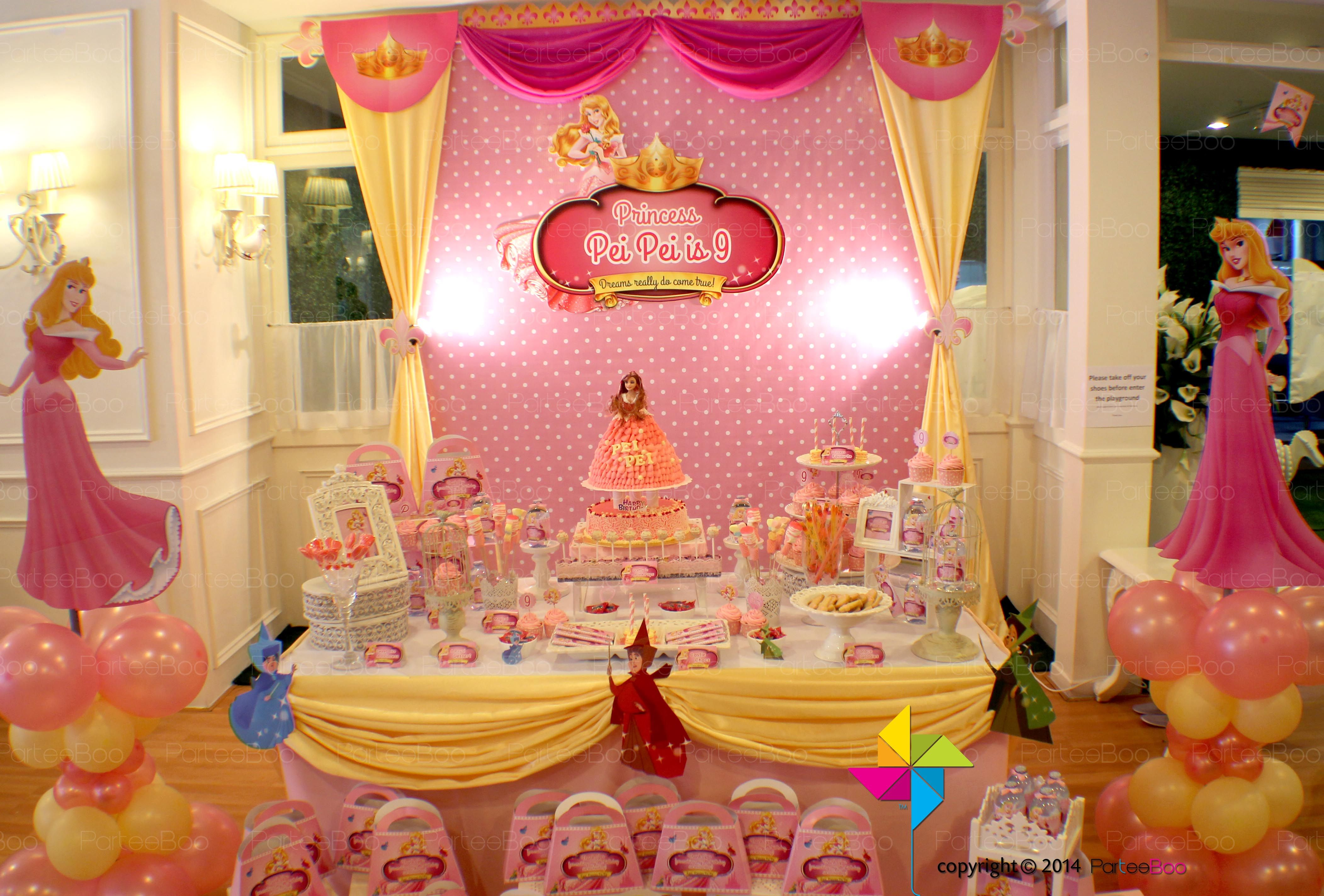 A Sleeping Beauty Themed Backdrop And Candy Buffet For A Little
