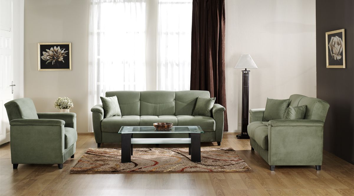 Livingroom With Sage Green Couch And Dark Gray Wall