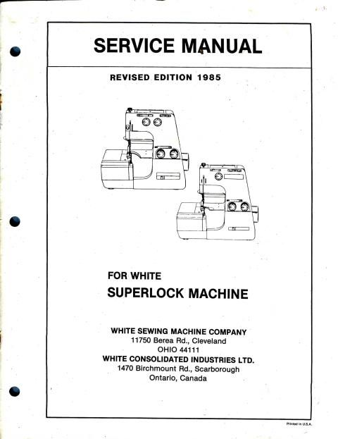 White SuperLock Sewing Machine Service Manual Models 503, 523 - operation manual