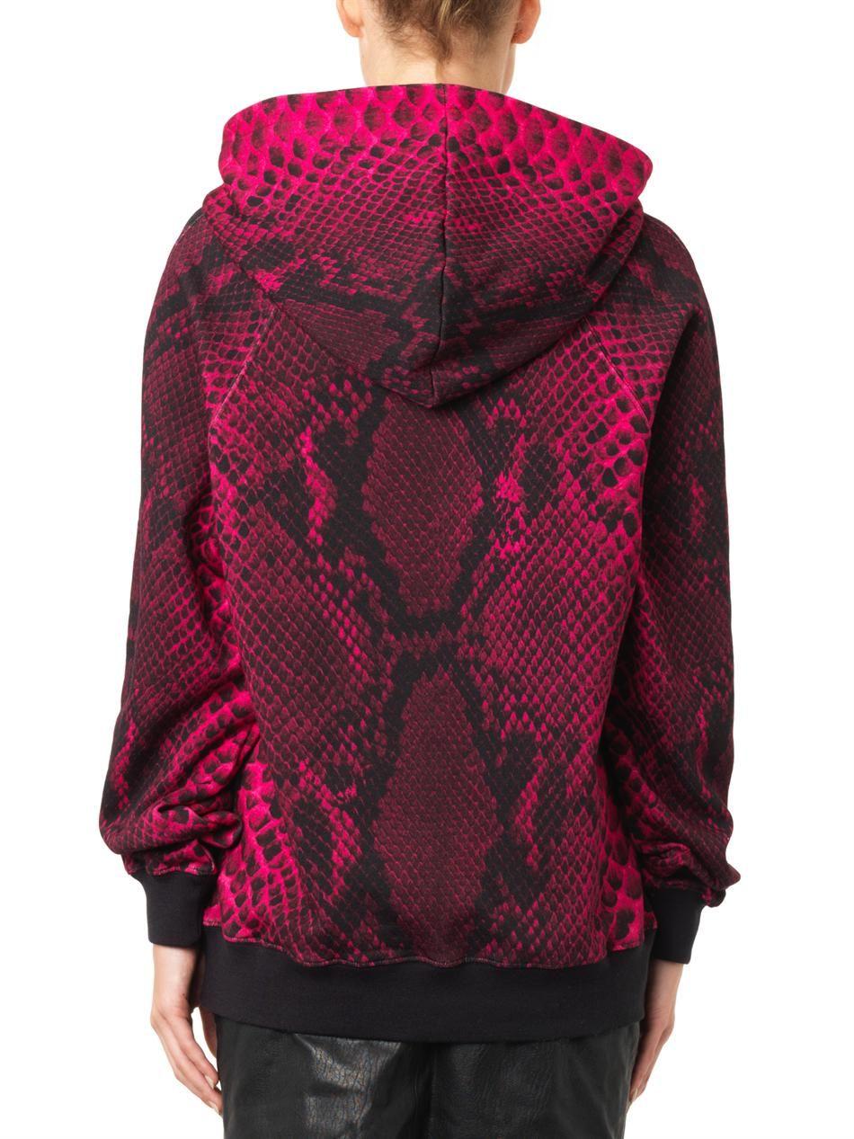Christopher Kane Snake-print hooded sweatshirt