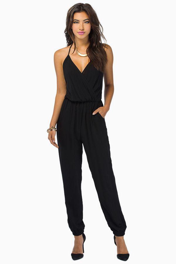 2c448359273  SALE Black Spaghetti Strap V Neck Loose Jumpsuit online Shop the  SALE at   Sheinside