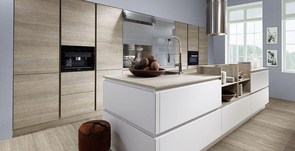 Küche ohne griffe  Schröder Küchen | Küche ohne Griffe | Fenix GLV hellgrau, Sherwood ...