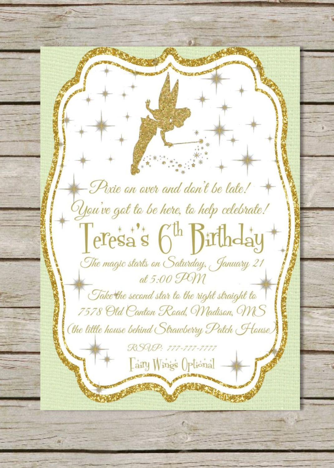 DIY PRINTABLE Tinkerbell Birthday Invitation | Tinkerbell from Peter ...