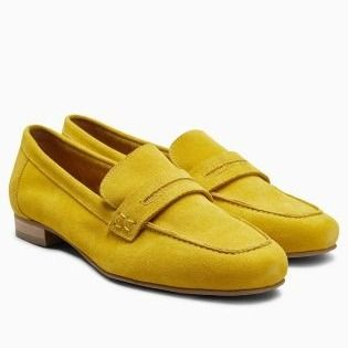 Womens Office Retro Tassel Loafers Yellow Suede 2 Flats