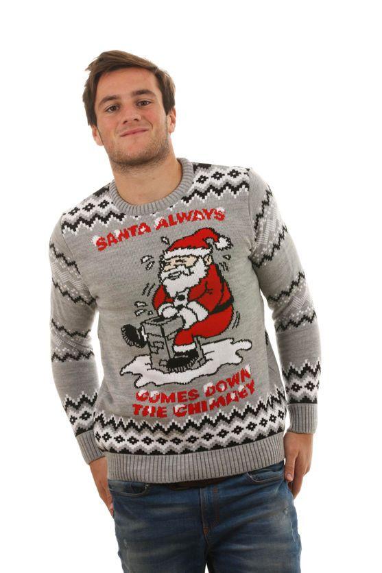 Christmas Mens /& Womens 3D Santa Down Chimney Light Up Jumper Sweater