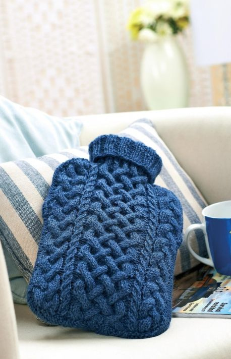 Cabled hot water bottle cover - free pattern on Lets Knit site Knittin...