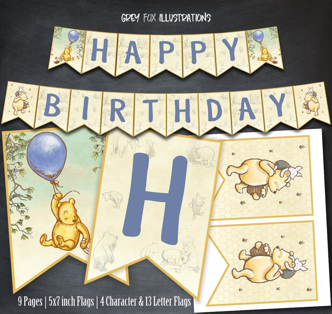 Photo of Winnie The Pooh Banner, Winnie The Pooh Birthday Banner, Pooh Party, Printables, Classic Winnie Pooh, Party, Favors, Banner Flags, Digital