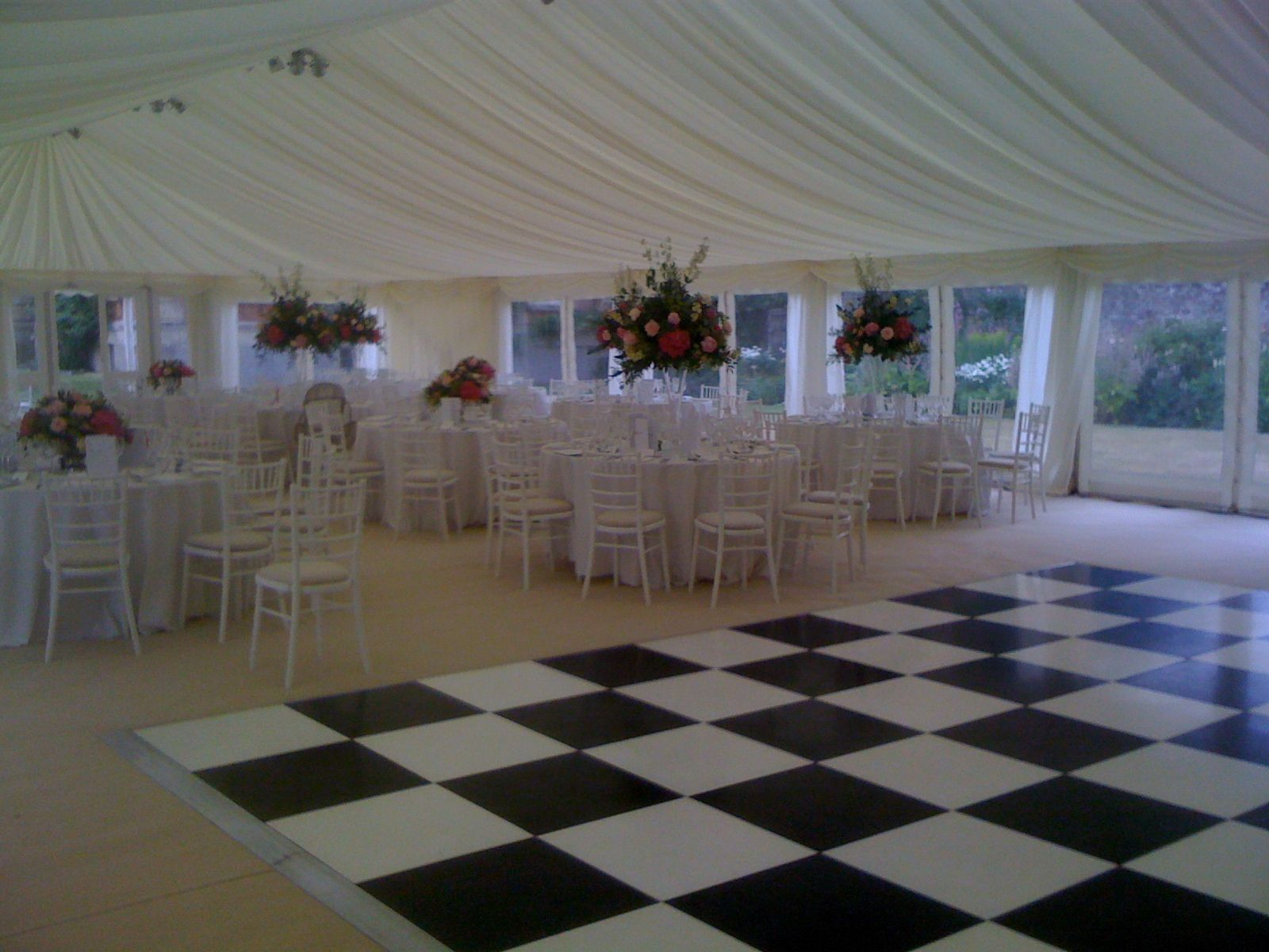 Add a bit of fun with a checkered dance floor!