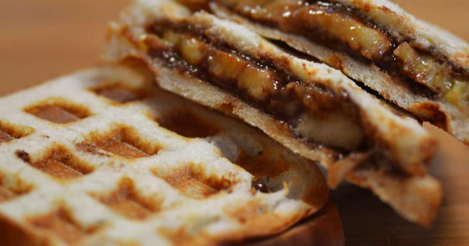 NUTELLA-BANANA WAFFLE SANDWICHES