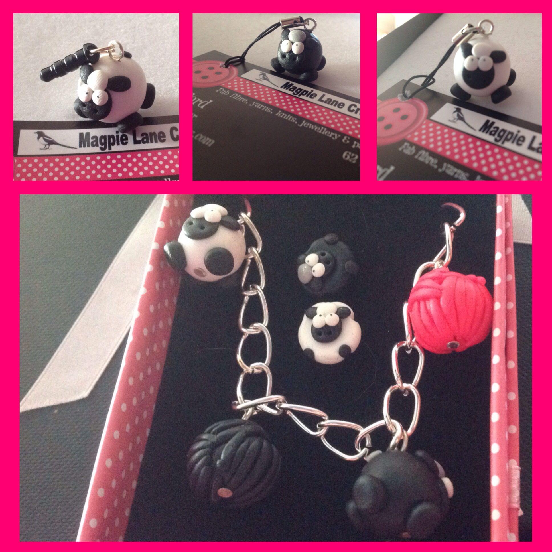 New sheepy gifts: earrings, badges, brooches, dust plugs & key rings etc