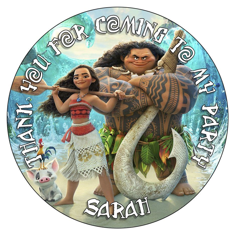 Personalised Moana Maui Vaiana Stickers Birthday Party Thank You Cone Bag Labels