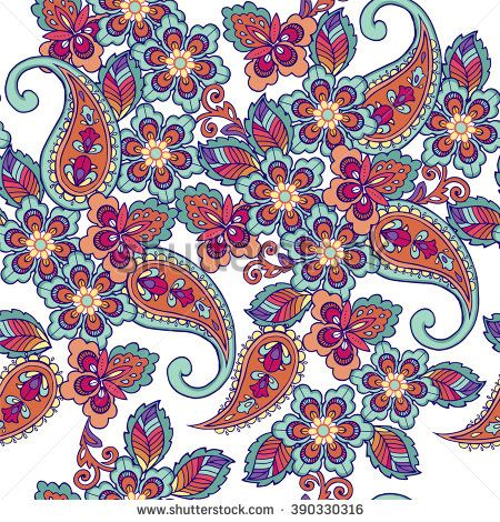 Traditional oriental seamless paisley pattern. Decorative ornament backdrop for fabric, textile, wrapping paper.