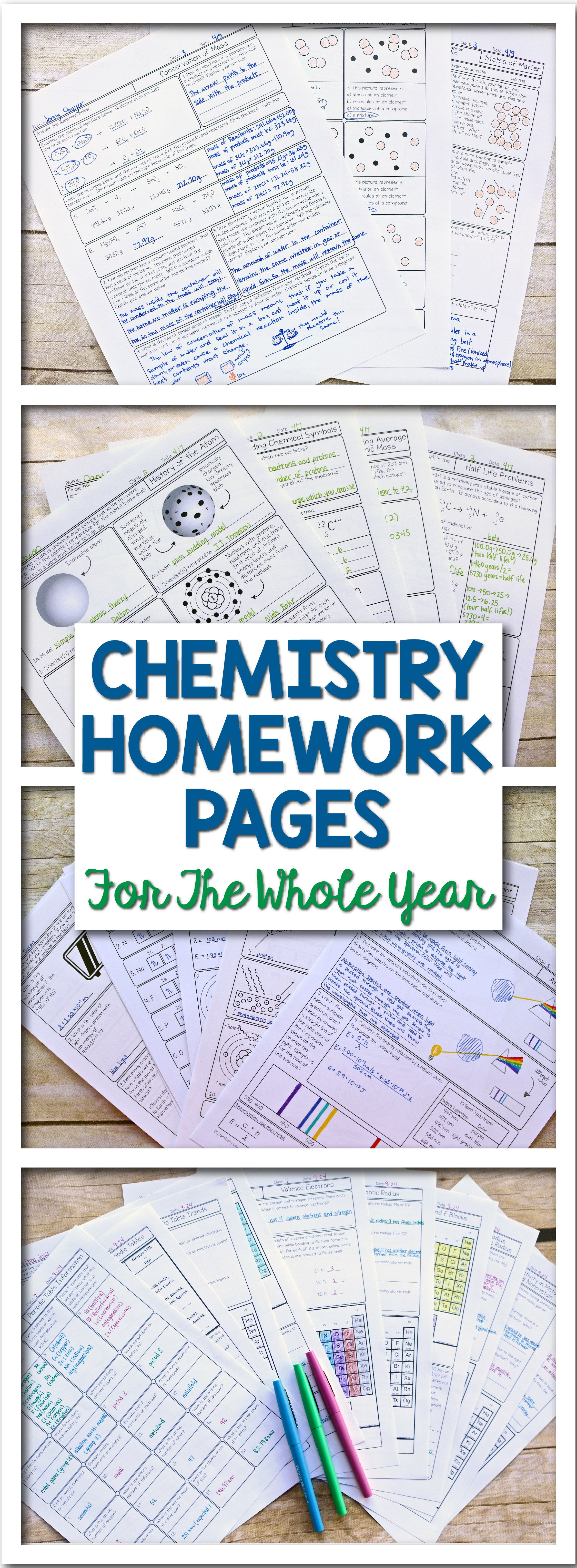 Differentiated Scaffolded Chemistry Whole Year Homework