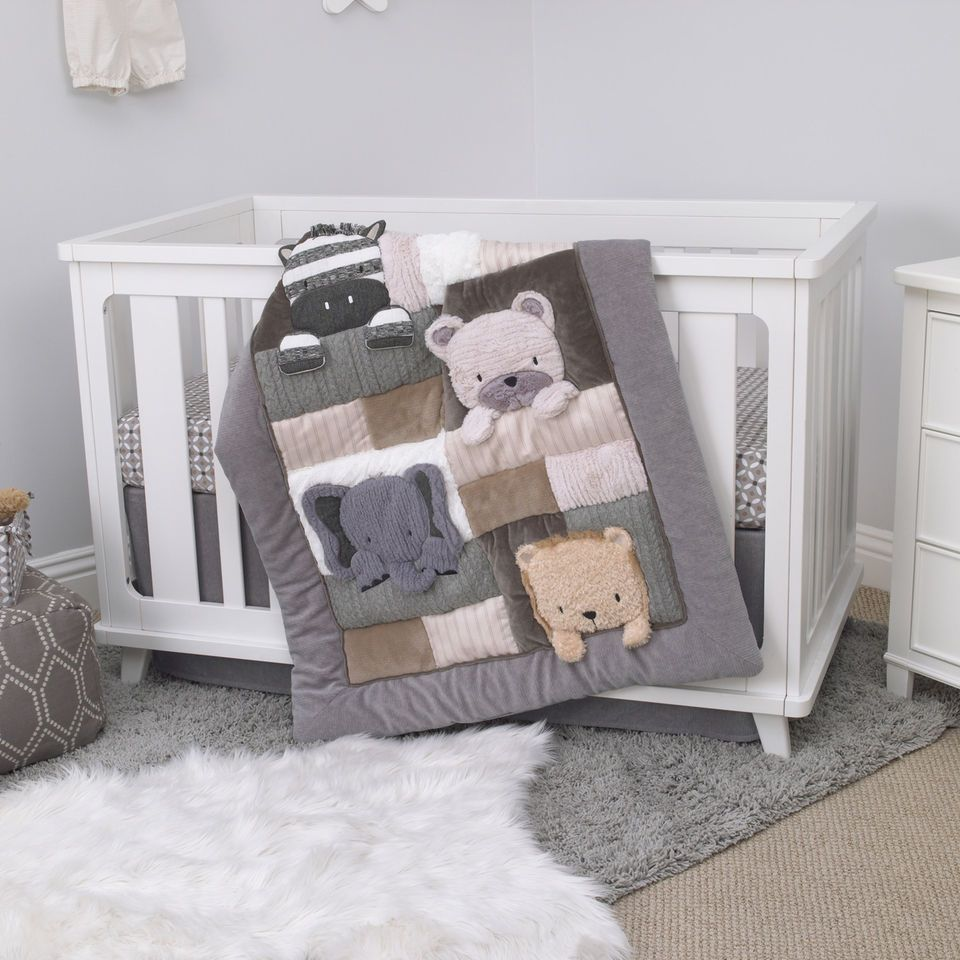 Crib bedding set gray white navy blue with by butterbeansboutique - Nojo Play Day Pals Cream And Grey 4 Piece Crib Bedding Set