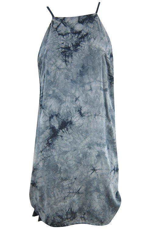 Tie Dye Tassel Side Shift Dress - Grey #shoppitaya