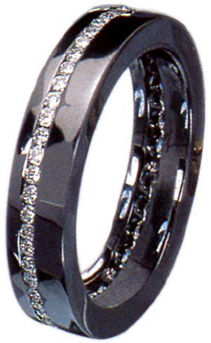 Joyas Italian Finest Anillo Oro Negro 18 Kl y Diamantes