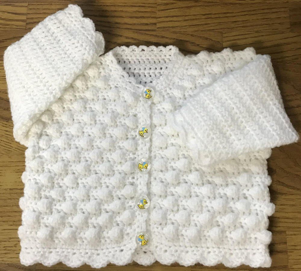 Round Neck Bobble Cardigan for Baby or Child Crochet pattern