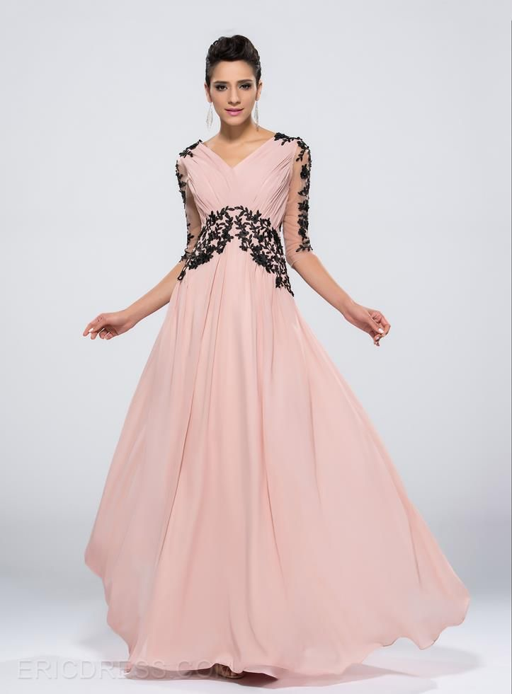 Charming A-line Long Sleeves Appliques Evening/Prom Dress ...