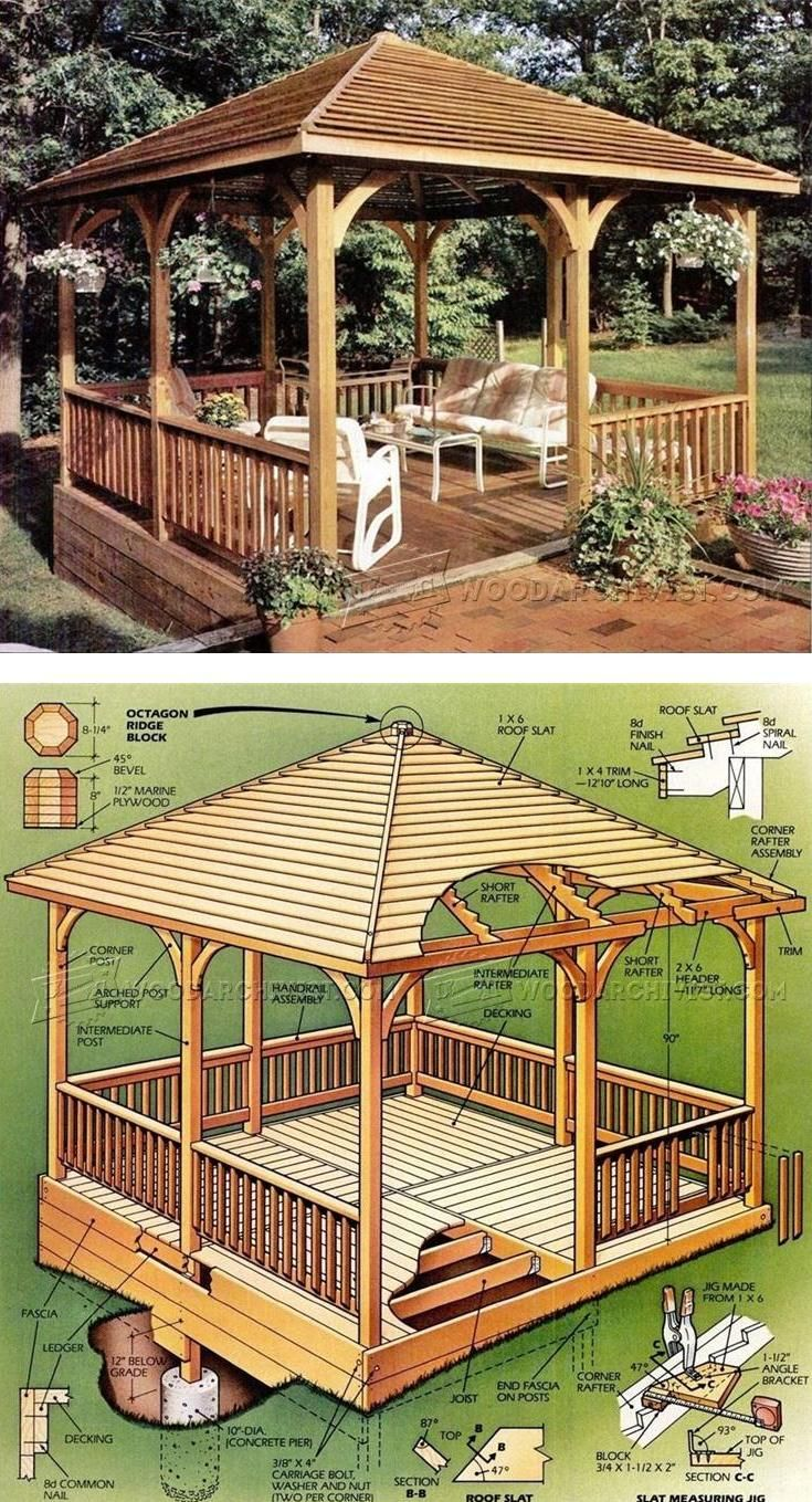 Wooden Gazebo Plans Outdoor Plans And Projects Woodarchivist Com