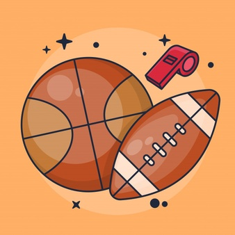 Basketball And American Football With Whistle Illustration